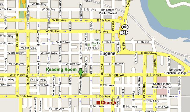Christian Science Eugene reading room map